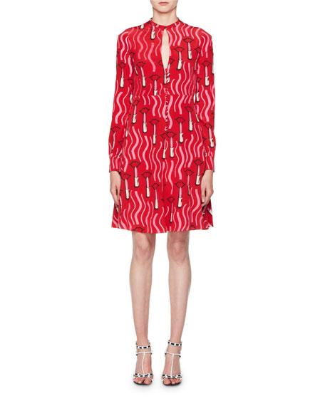 Long-Sleeve Crepe de Chine Lipstick-Print Mini Dress