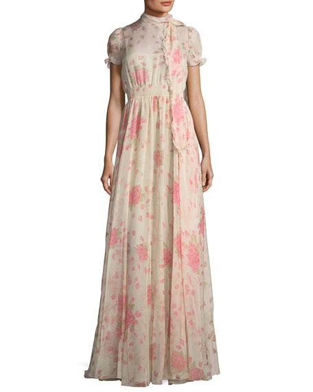Floral-Print Chiffon Gown