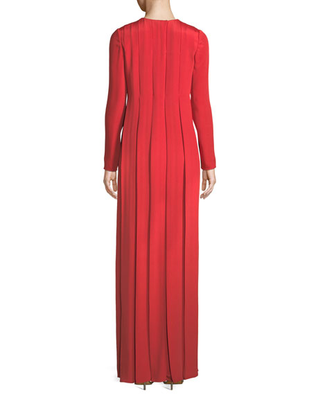 Long-Sleeve Jewel-Neck Pleated Silk Evening Gown