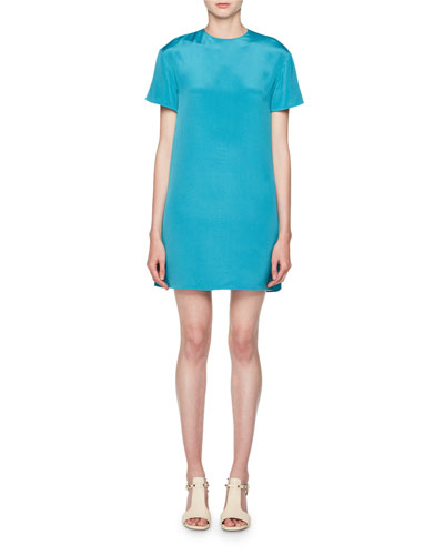 Short-Sleeve Silk Shift Dress