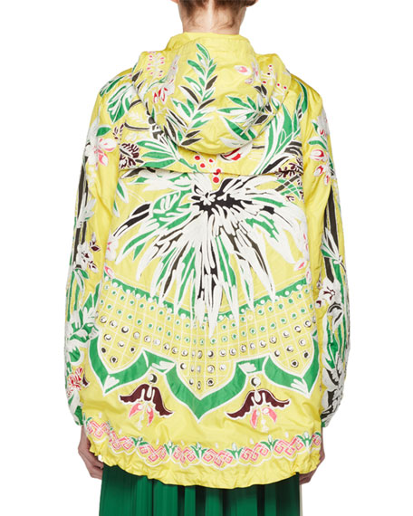 Floral-Embroidered Parka Coat