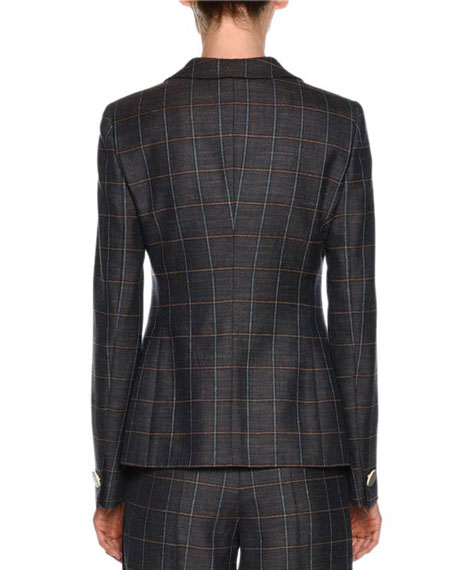 Windowpane-Check One-Button Wool-Silk Jacket