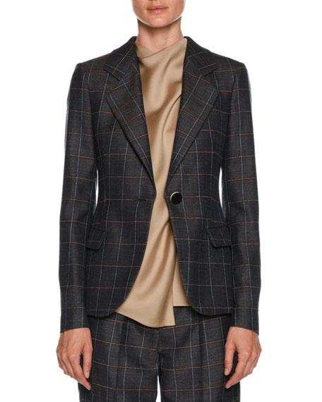 Windowpane-Check One-Button Wool-Silk Jacket
