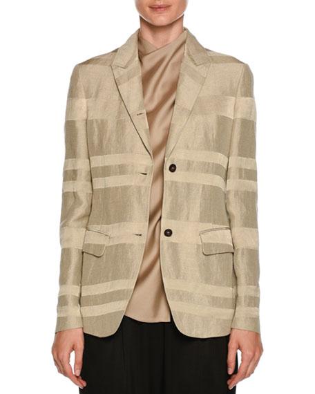 Giorgio Armani Striped Button-Front Linen-Blend Blazer