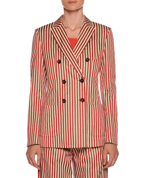 Stripe Double-Breasted Cotton-Silk Jacket