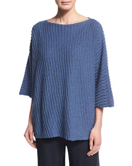 Sideways Knit Merino Wool Sweater