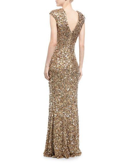Metallic Beaded Cap-Sleeve Gown