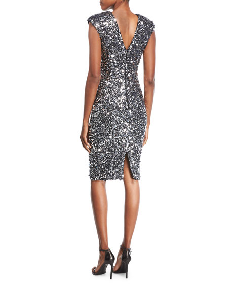 Sequined Cap-Sleeve Cocktail Dress