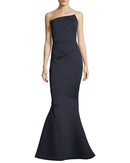 Asymmetric Strapless Trumpet Gown