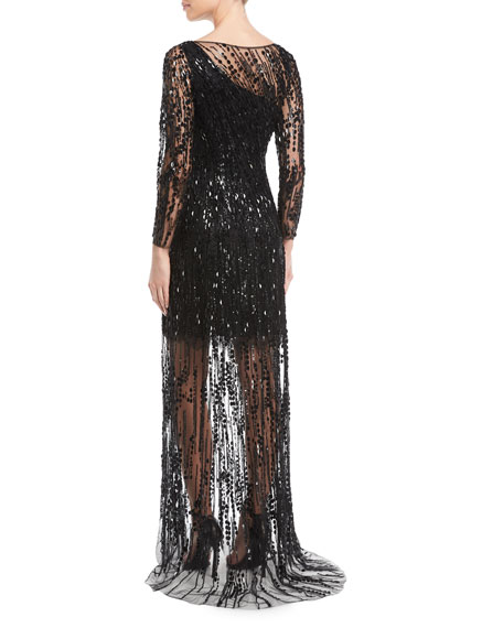 Sleeveless Ombre Beaded Evening Gown
