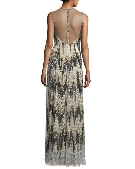 Sleeveless Chevron Sequined Gown