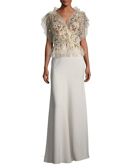 Beaded Tulle Peplum Combo Gown
