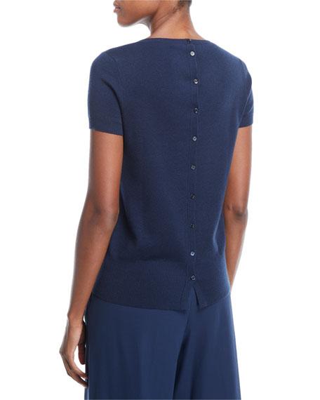 Button-Back Cashmere Top