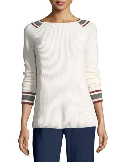 Striped-Trim Cotton-Stretch Ribbed Sweater