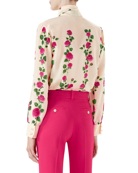 Climbing Roses Silk Button-Down Blouse w/ Neck Tie