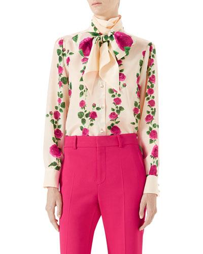 Climbing Roses Silk Button-Down Blouse w/ Neck Tie