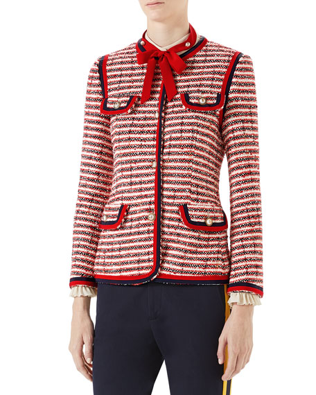 Striped Tweed Jacket In Red, White And Navy, Red Pattern