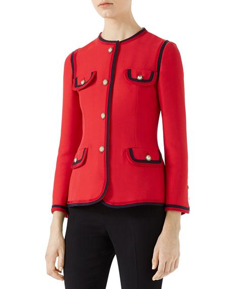 Single-Breasted Cady Crepe Jacket
