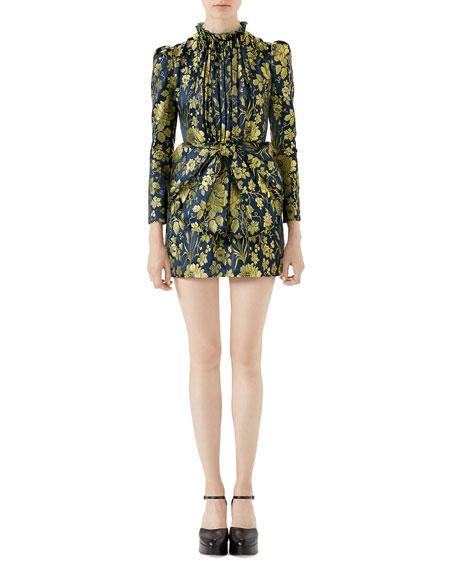 Romantic-Flower Jacquard Dress