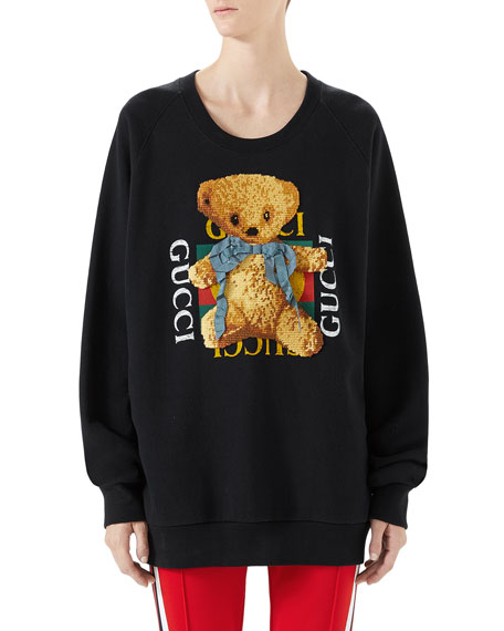 Felted Jersey Sweatshirt with Teddy Bear