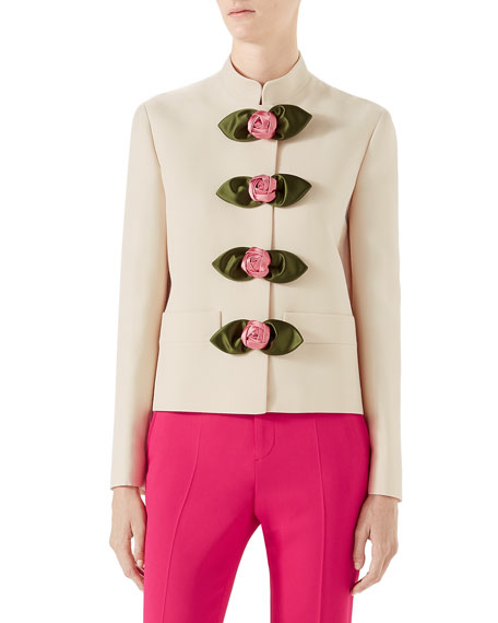 Cady Crepe Wool/Silk Jacket with Rosette Details