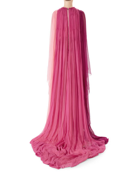 Long-Sleeve Pleated Silk Chiffon Gown
