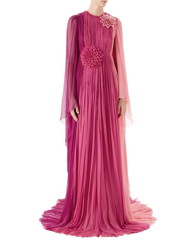 Long-Sleeve Pleated Silk Chiffon Gown
