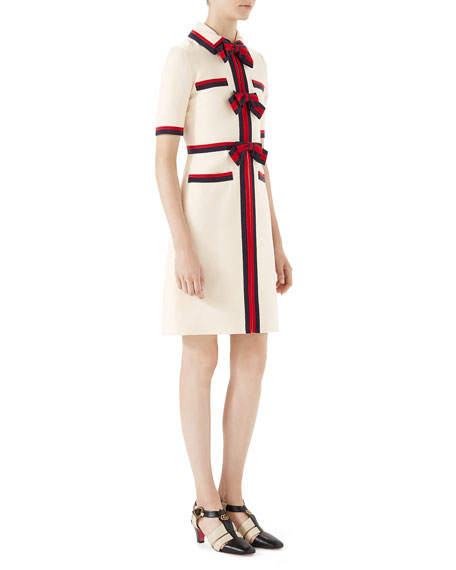 7201730fd43 Gucci Short-Sleeve Cady Crepe Dress with Web Bow Details
