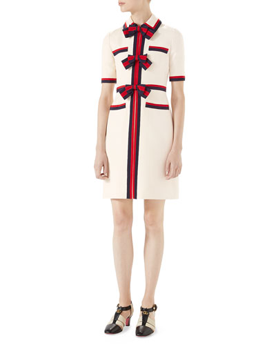 Short-Sleeve Cady Crepe Dress with Web Bow Details