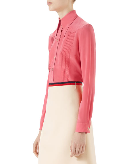 Pintucked Silk Crepe Shirt