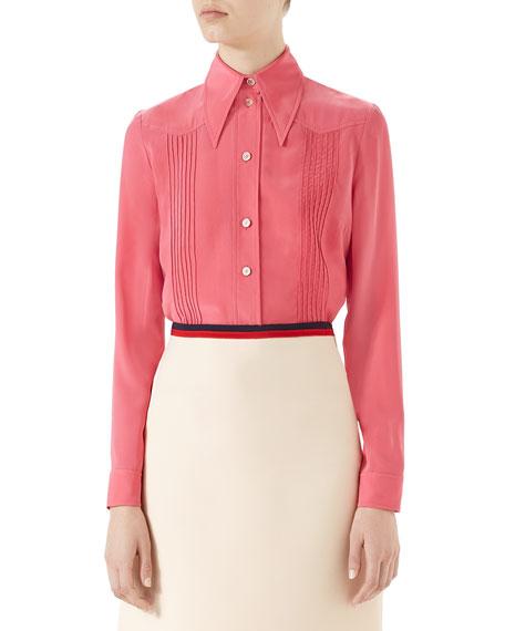 Pintucked Silk Crepe Shirt