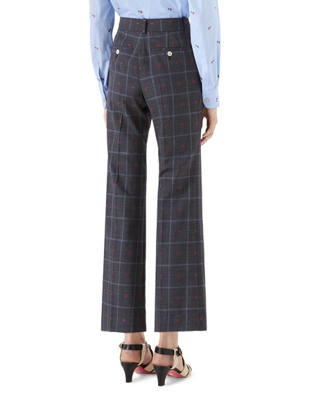 Framed Hearts Prince of Wales Check Boot-Cut Pants