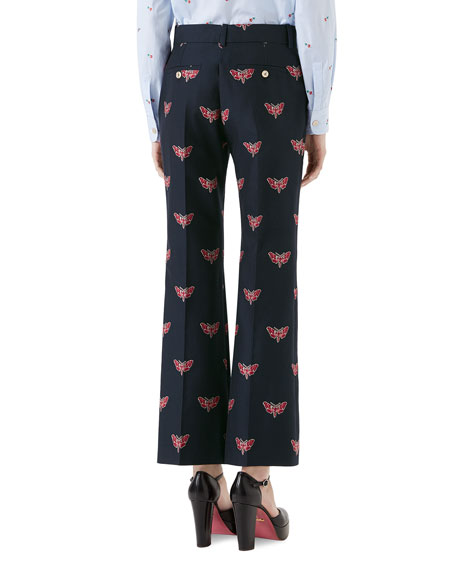 Cotton/Wool Butterfly Fil Coupe Boot-Cut Pants