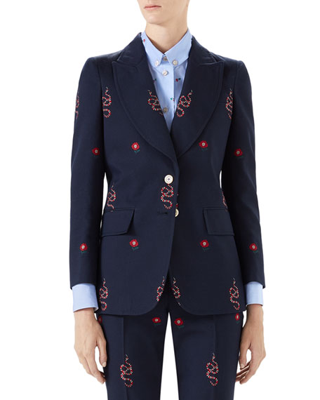 Kingsnake And Floral Embroidered Jacket in Navy Multi