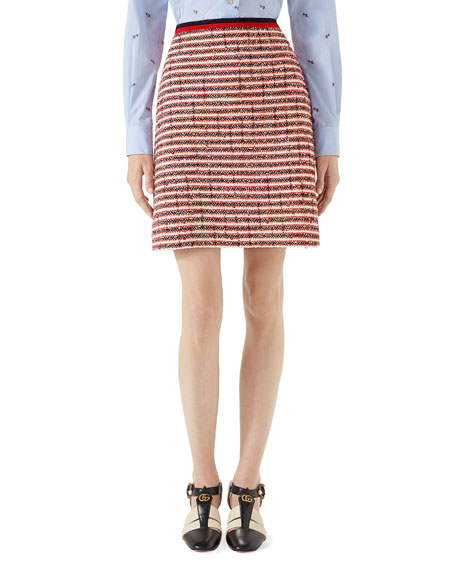 Striped Cotton And Wool-Blend Skirt, Red Pattern