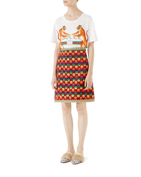 Velvet Rainbow GG A-Line Skirt with Embroidered Details