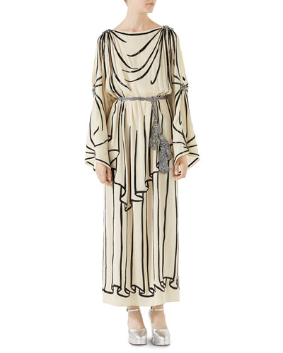 Light Georgette Tunic Gown with Trompe-l'Oeil Embroidery
