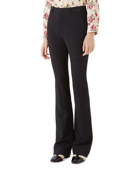 Stretch Viscose Skinny Flare Pant in Black
