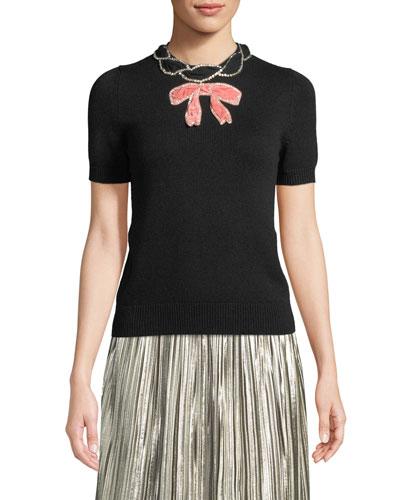 Short-Sleeve Cashmere-Silk Bow Top