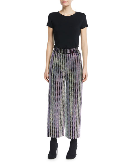 Wide-Leg Crystal-Embellished Pants