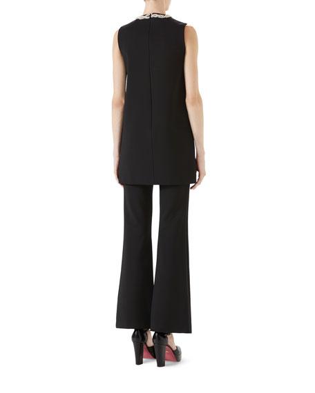 Sleeveless Stretch-Jersey Dress w/ Crystal Tassels