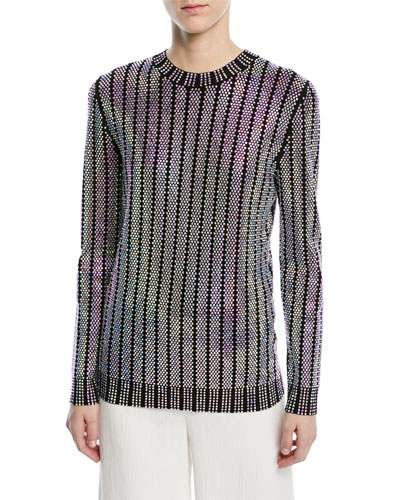 Crystal-Embroidered Crewneck Sweater