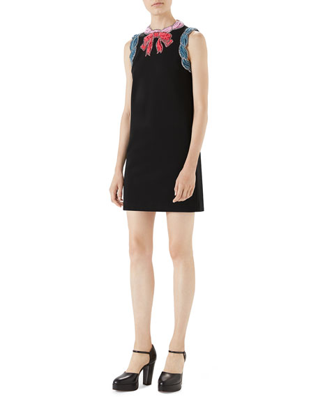 Stretch-Viscose Dress with Velvet Trim