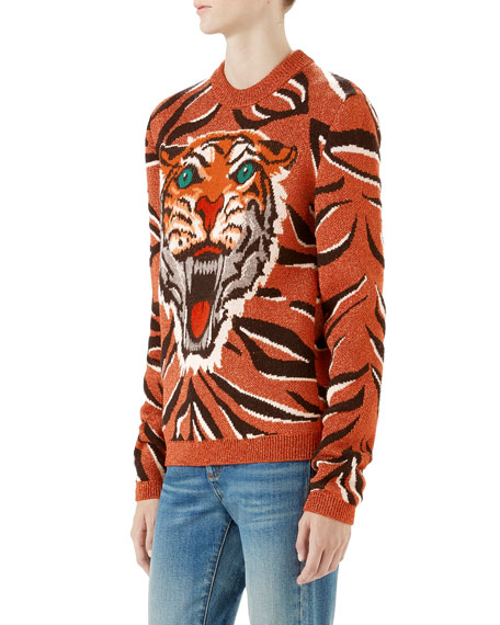 Wool-Blend Metallic Tiger Sweater