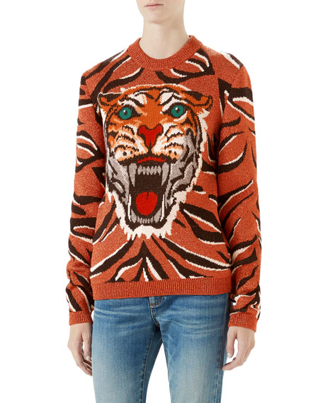 4c7c39190 Gucci Wool-Blend Metallic Tiger Sweater