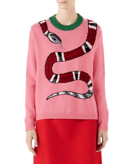 Long-Sleeve Wool Snake Intarsia Sweater