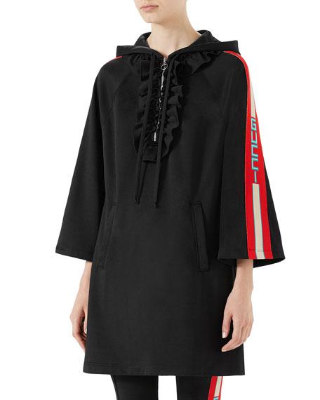 Hooded Jersey Dress W/ Logo Sleeve Bands in Black