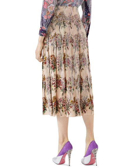 Floral-Bouquet Print Skirt with Crystals