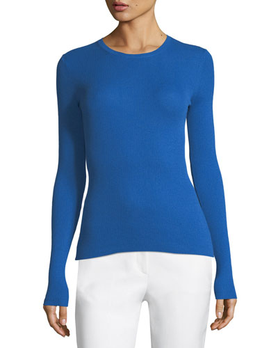 Ribbed Crewneck Cashmere Sweater