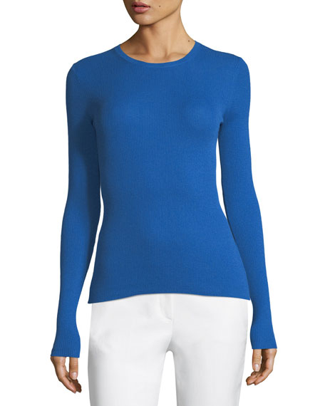 Ribbed Crewneck Cashmere Sweater